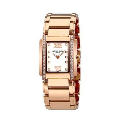 patek phillipe 18k rose gold and diamond watch