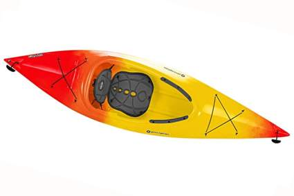 red and yellow sea kayak