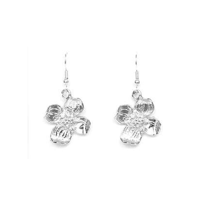 pewter hand crafted dogwood flower earrings