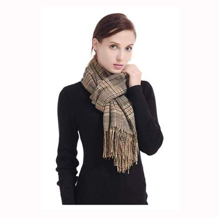 tan plaid cashmere pashmina scarf