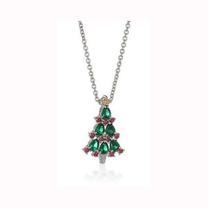 platinum plated swarovski crystal christmass tree pendant