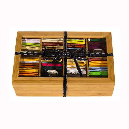tea gift chest with honey sticks