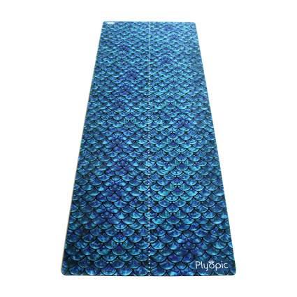 Blue mermaid scale yoga mat
