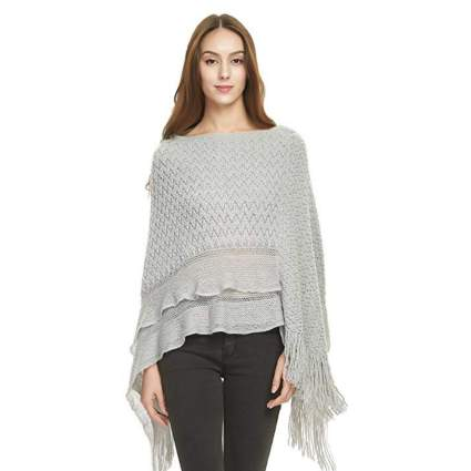 Ferand Cable Knit Ruffle Poncho with Fringed Hems