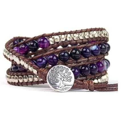 purple agate beaded wrap bracelet