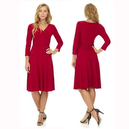 red fit and flare tummy slimming dress