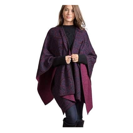reversible alpaca wool shawl