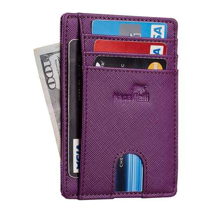 Purple RFID blocking leather wallet