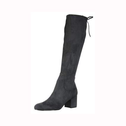 charcoal suede women's knee high boots