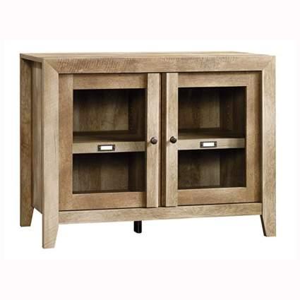 Rustic wood display cabinet