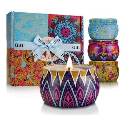 scented soy wax candles in travel tins