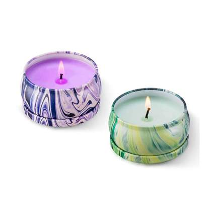 eucalyptus and lavender scented travel candles