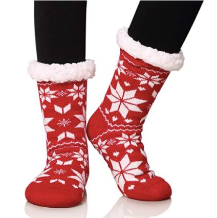 Fuzzy Snowflake Socks