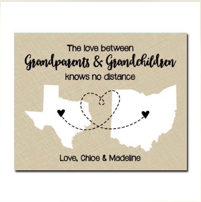 Two State Personalized Paper Art Print