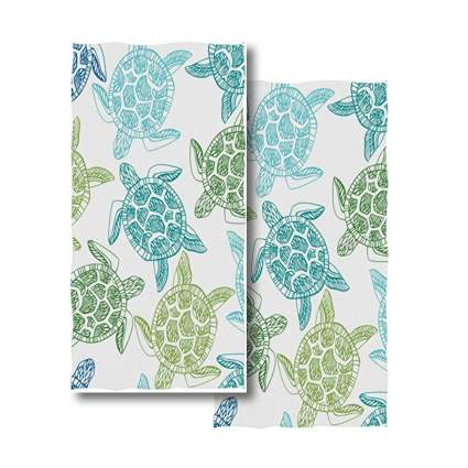 sea turtle fingertip towels