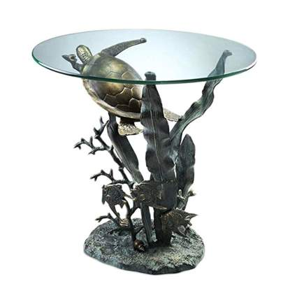 swimming sea turtle metal and glass top table