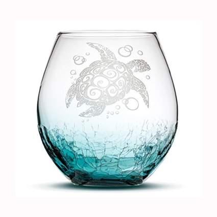 crackle glass sea turtle stemless wine glass