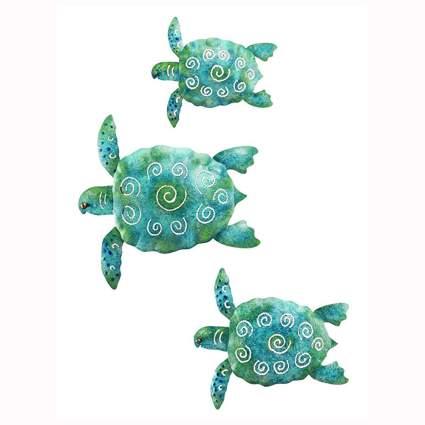 Blue and green sea turtle wall decor set