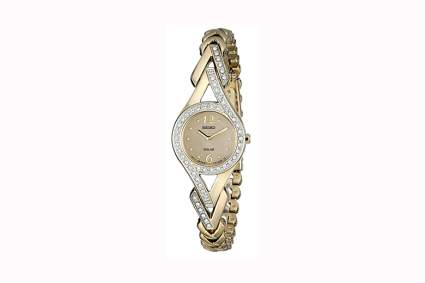womens gold tone crystal accented watch