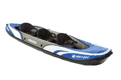 blue three person inflatable kayak