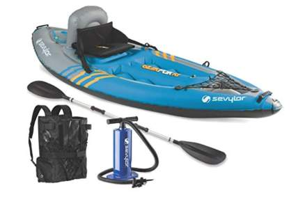 blue and gray inflatable kayak