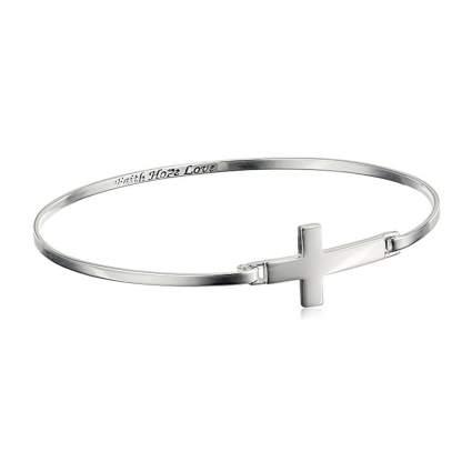 silver cross bangle bracelet with inscription