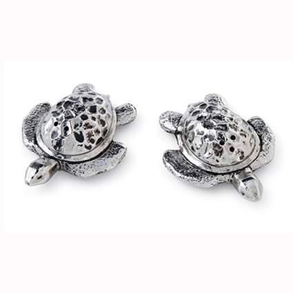 silver turtle salt & pepper shakers