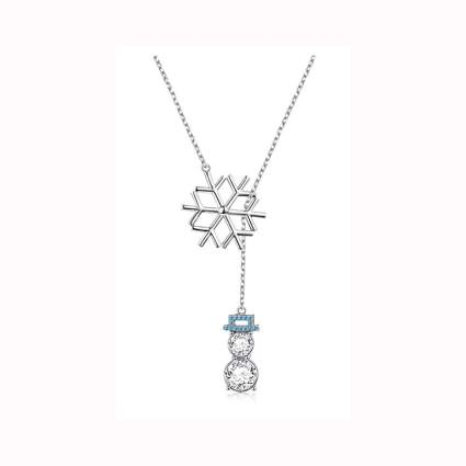 snowflake and snowman lariat necklace