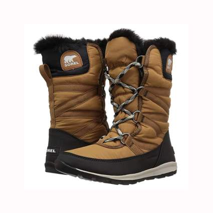black and tan women's fur lined tall snow boot