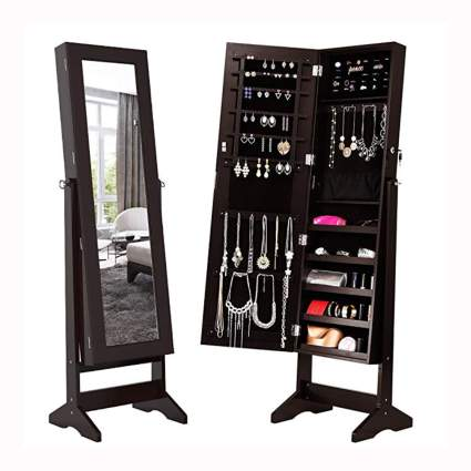 standing jewelry armoire & mirror