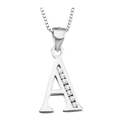 sterling silver and cubic zirconia alphabet necklace