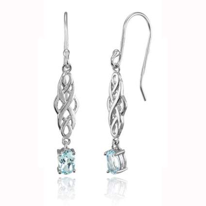 sterling silver and topaz celtic knot dangle earrings