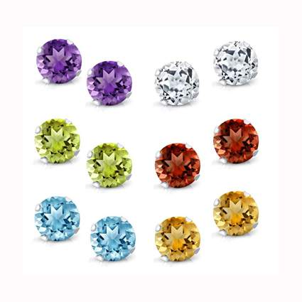 sterling silver gemstone stud earring set