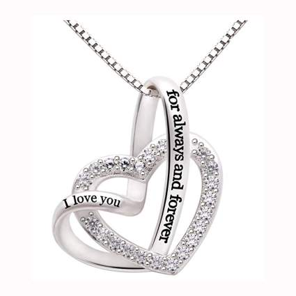 sterling silver i love you always and forever pendant