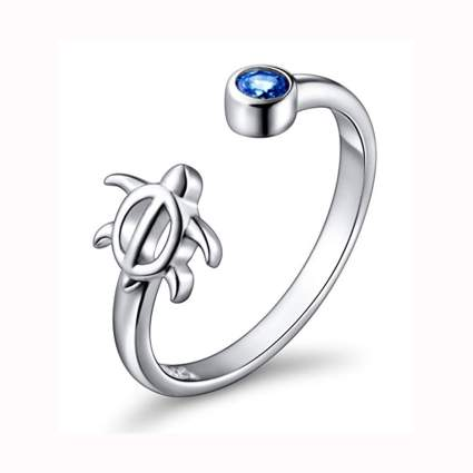 sterling silver sea turtle wrap ring