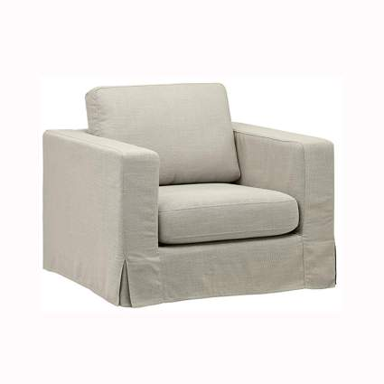 cream straight line slip cover accent chair