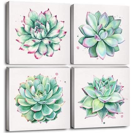 Set of 4 Succulent Canvas Painting Prints