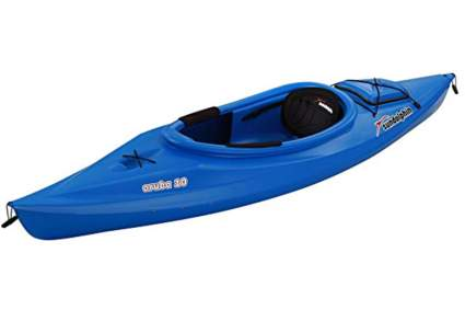 blue plastic kayak
