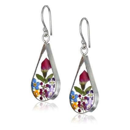 Amazon Collection earrings with pressed flowers