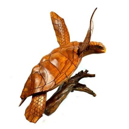 teak sea turtle sculpture