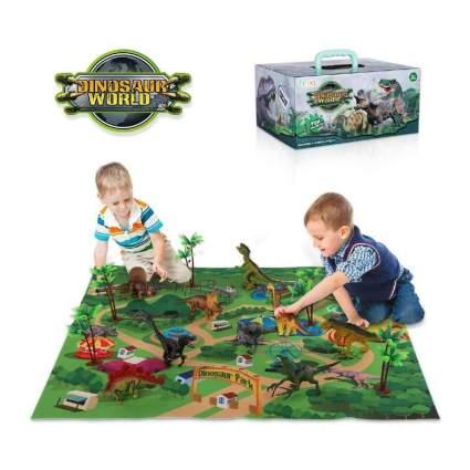 TEMI Dinosaur Toy Figure w/ Activity Play Mat & Trees