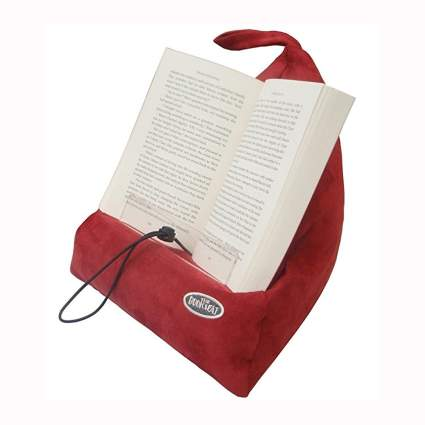 red faux suede book rest