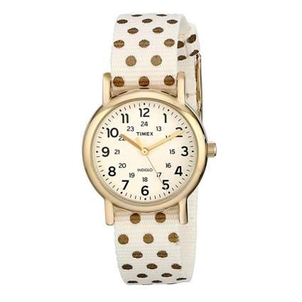 timex weekender gold tone watch