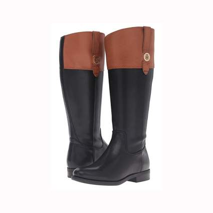 black and tan wide calf women's riding boots
