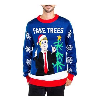 trump fake trees christmas sweater