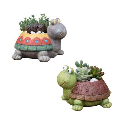 turtle succulent planter pots