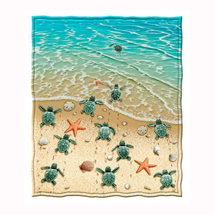 baby turtles on the beach fleece blanket