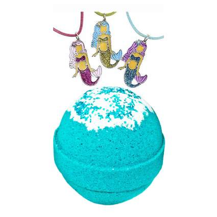 Aqua bath bomb with mermaid necklace