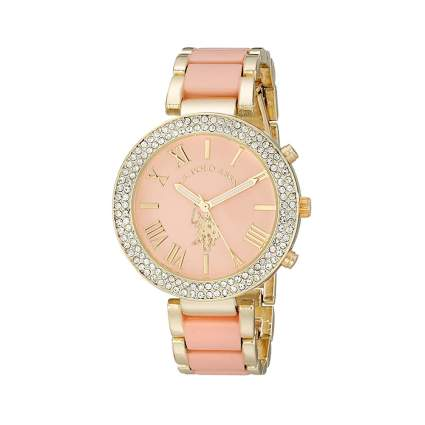 pink and gold women's jeweled watch