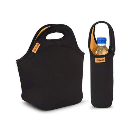 black neoprene insulated lunch bag and bottle tote